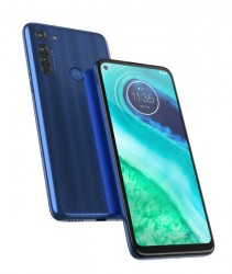 Moto G8 in Capri Blue and White Prism
