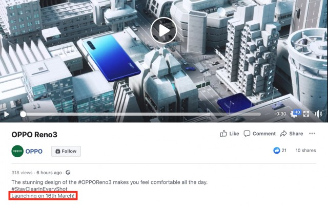 International Oppo Reno3 launch date confirmation