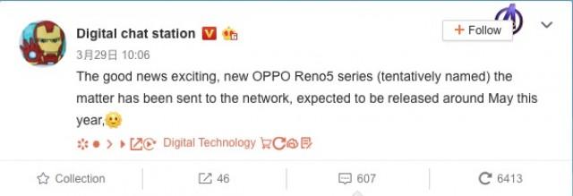 Oppo Reno5 series release date rumor