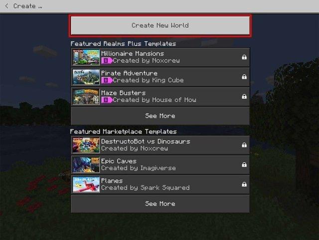Click Create New World
