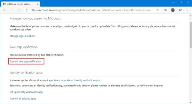 Microsoft account disable two-step verification option