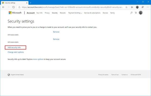 Microsoft account add security info