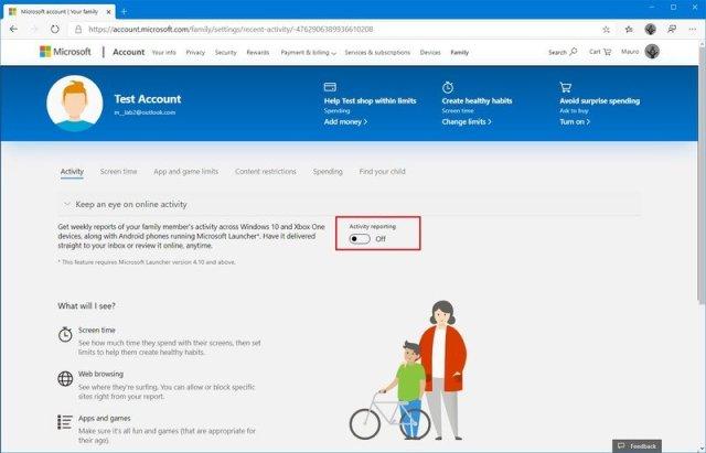 Microsoft family settings activity report optoin