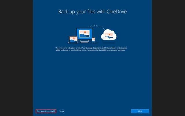 Skip OneDrive backup on Windows 10