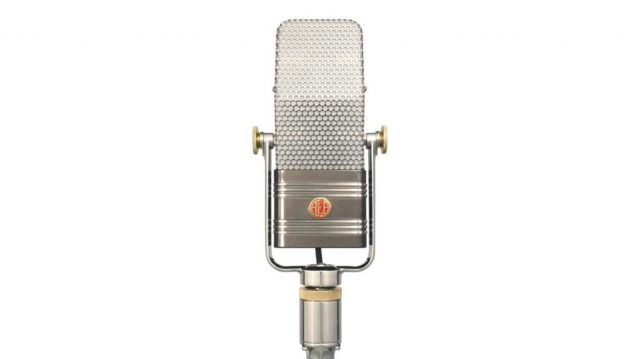 AEA A440 ribbon type of microphone against white background.
