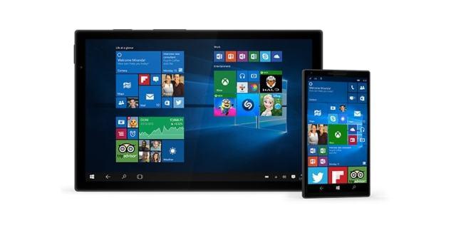 Système d'exploitation Windows 10 de Microsoft sur tablette et smartphone