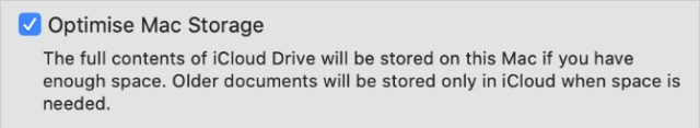 Optimise Mac Storage option from iCloud System Preferences