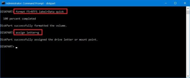 Diskpart format partition on Windows 10