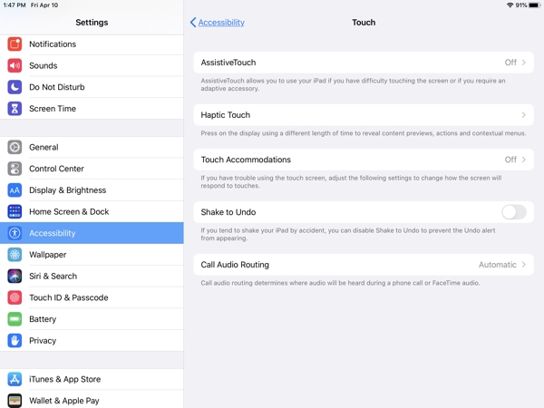 iPad Accessibility-Touch