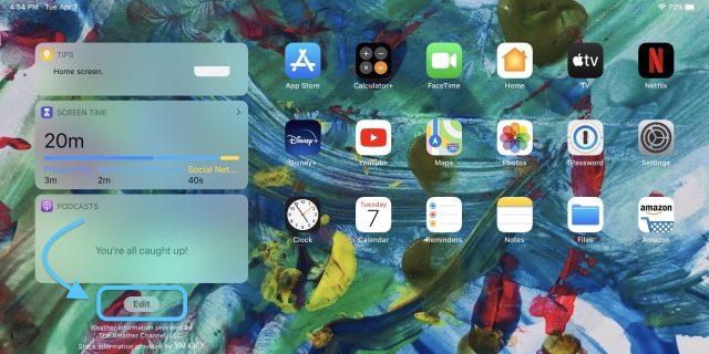 comment garder les widgets iPad écran d'accueil pas à pas 2