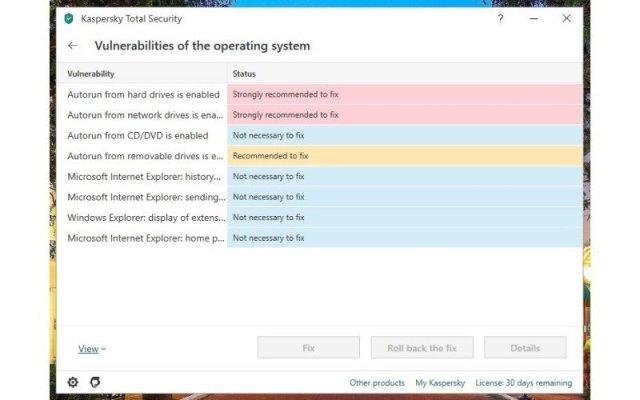 Kaspersky Vulnerability Scan Fixes Edited