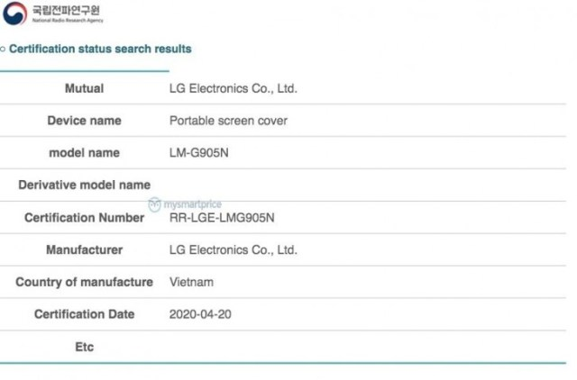 LG Velvet's Dual Screen accessory gets certified