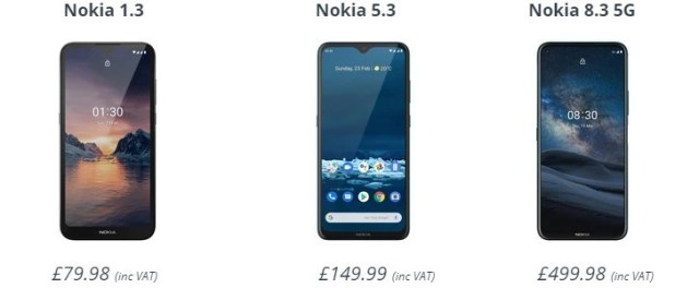 Nokia 8.3 5G, 5.3 and 1.3 are now available for pre-order in the UK, but you'll have to wait to get one