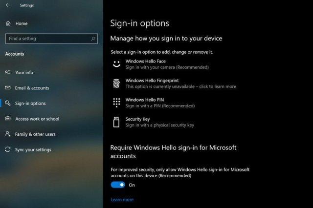 Windows 10 2004 Hello Signin