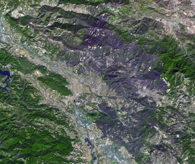 ASTER view of Kincade fire in Sonoma County