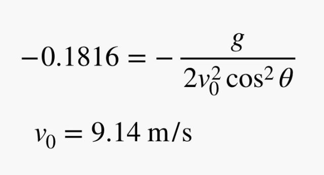 v intial equals 9.14 meters per squared