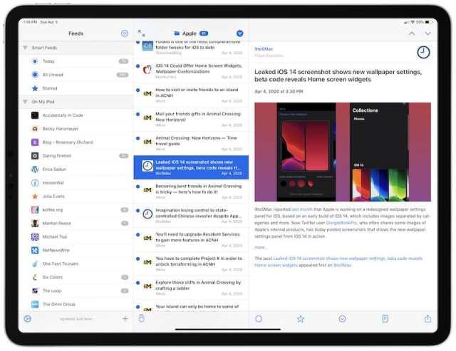 NetNewsWire iPad Pro