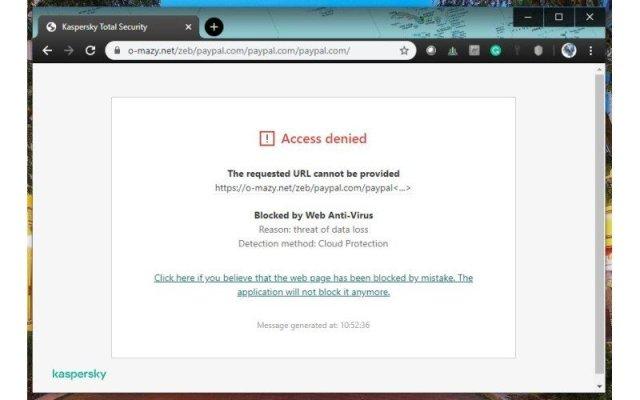 Kaspersky Browser Extension Block Site Edited