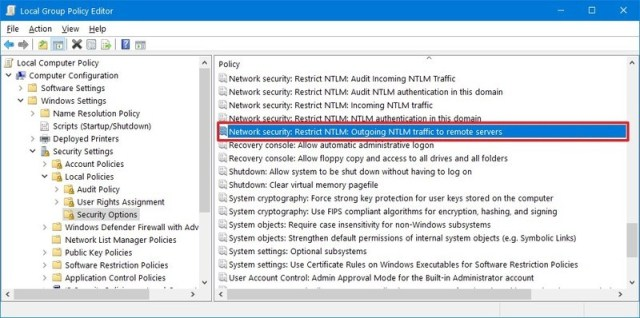 Group Policy Editor Security options