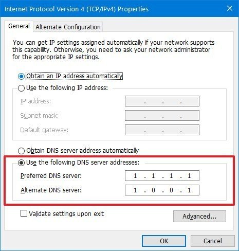 Static DNS configuration network settings