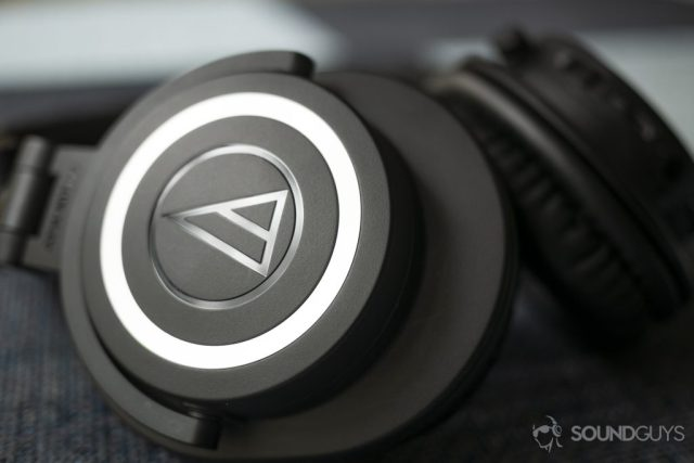 A photo of the Audio-Technica ATH-M50xBT on a table.