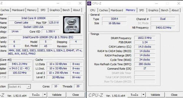 Core i9-10900K sous CPU-Z