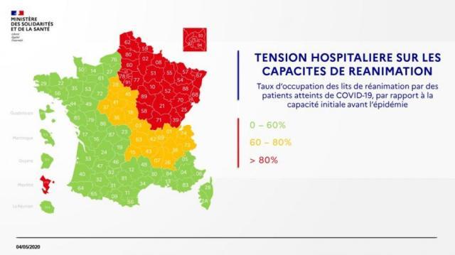 Carte des tensions hospitalières le4 mai 2020.