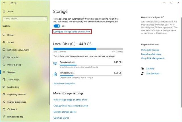 Windows 10 Configure Storage sense or run it now option