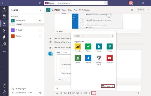 Apps menu on Microsoft Teams