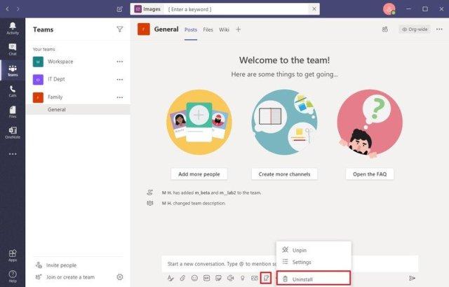 Microsoft Teams uninstall app