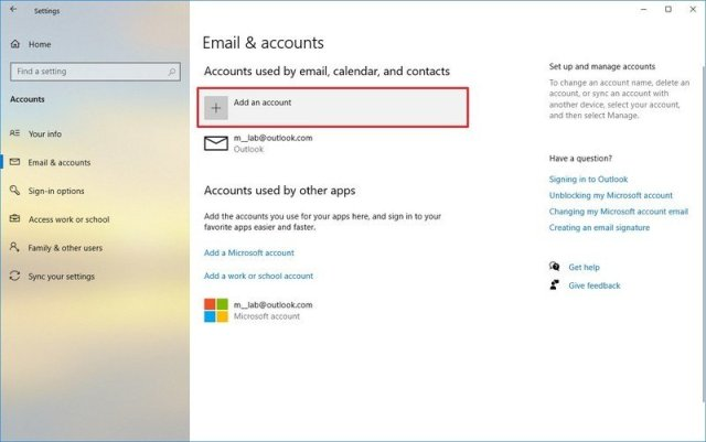 Add email accounts to Windows 10