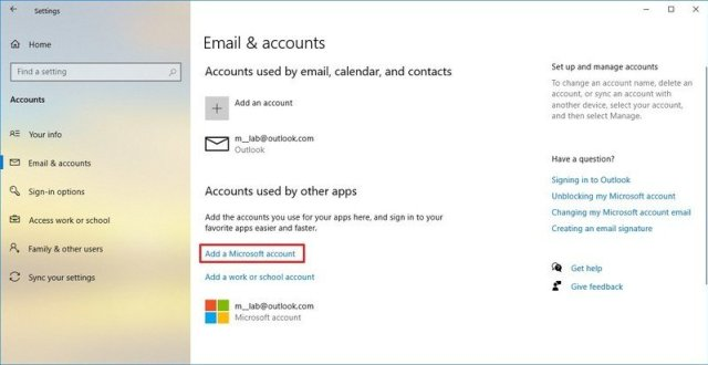 Add accounts used by other apps on Windows 10
