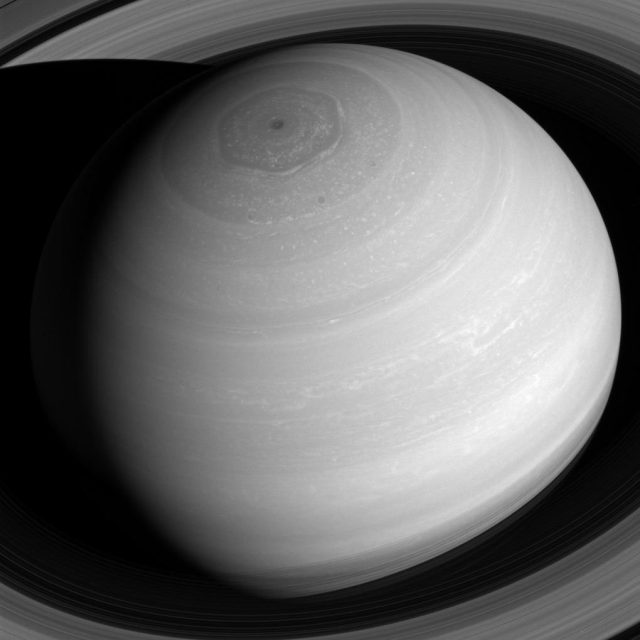 global view of saturn with rings
