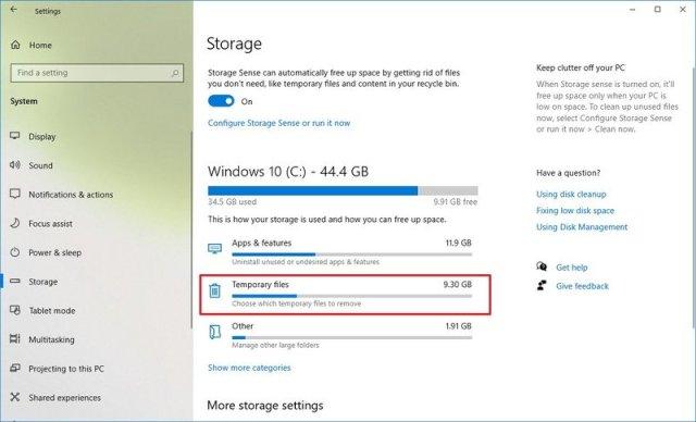 Windows 10 Storage temporary settings