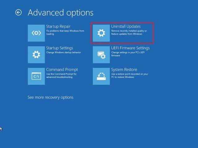 Windows 10 Advanced startup uninstall updates option