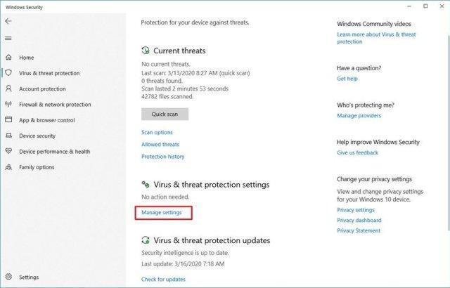 Windows Security Manage Settings Option