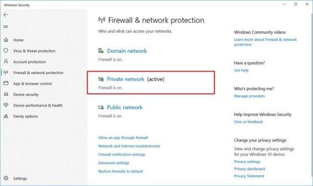 Windows Security firewall settings
