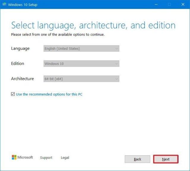 Microsoft Creation Tool setup settings