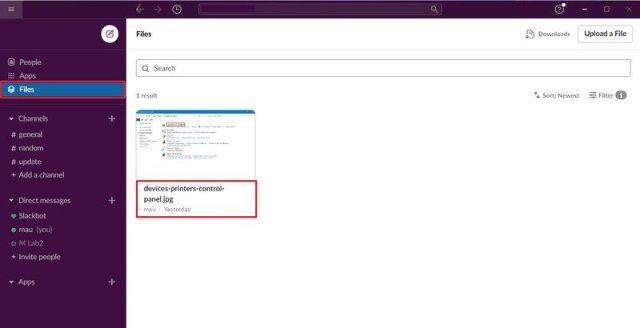 Slack Files tab