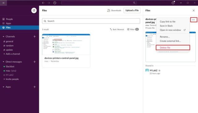 Slack delete files from Files tab