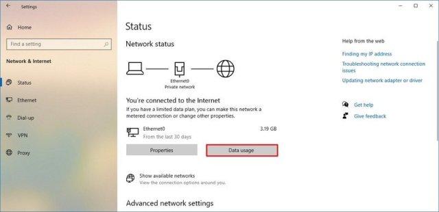 Windows 10 Status data usage option