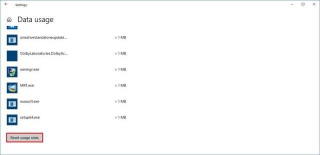 Windows 10 reset data usage option