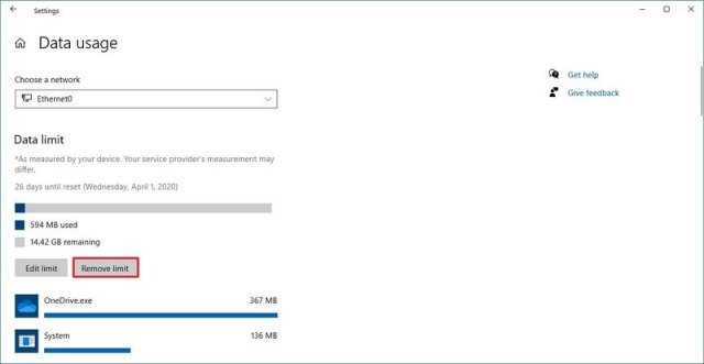 Windows 10 data usage remove limit