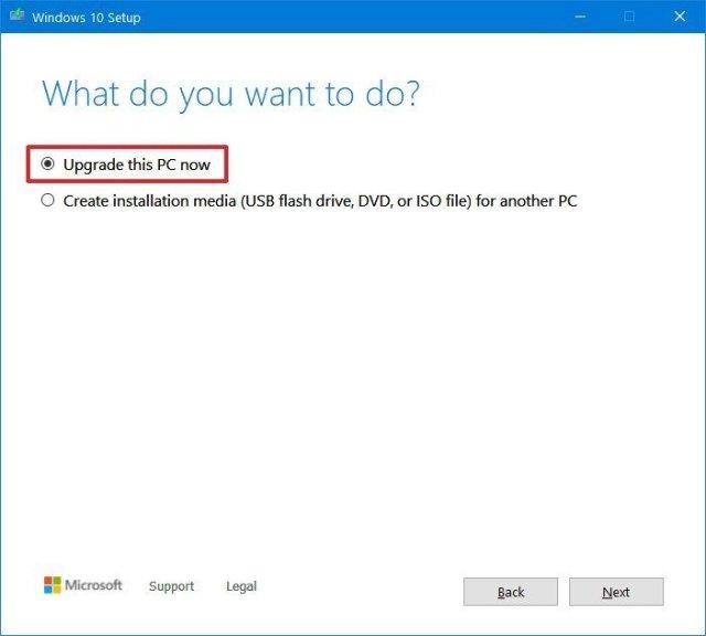 Windows 10 Media Creation Tool upgrade option