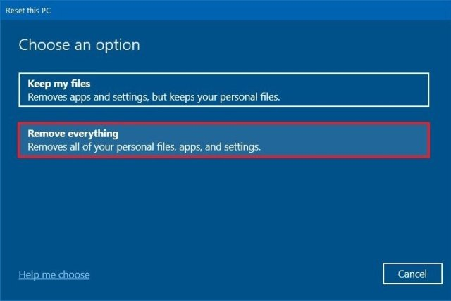 Reset this PC remove everything option