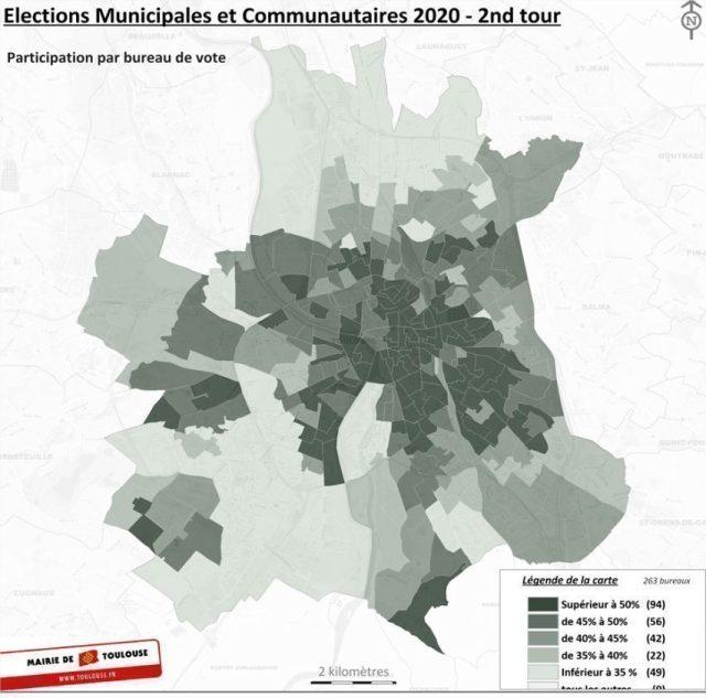 La carte de la participation lors du second tour des élections municipales de 2020 à Toulouse.