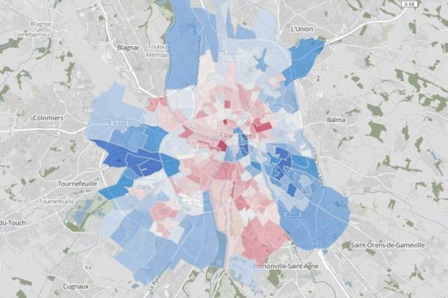 La carte électorale du second tour des municipales à Toulouse en 2014.