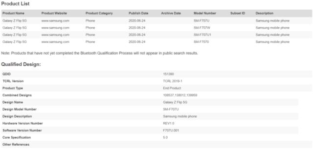 Samsung Galaxy Z Flip 5G SM-F707U SM-F707W Bluetooth Certification Canada