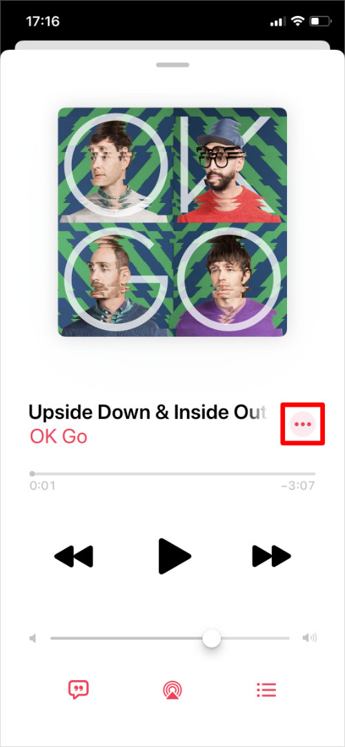 Three dot button from Apple Music Now Playing