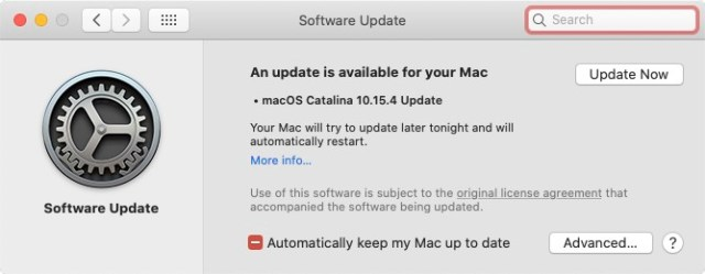 macOS Catalina Update Screen